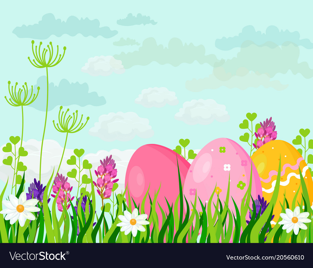Happy easter eggs card holiday green