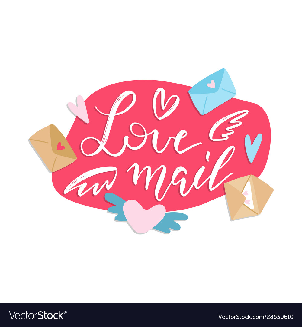 Love mail - hand-drawn lettering print concept