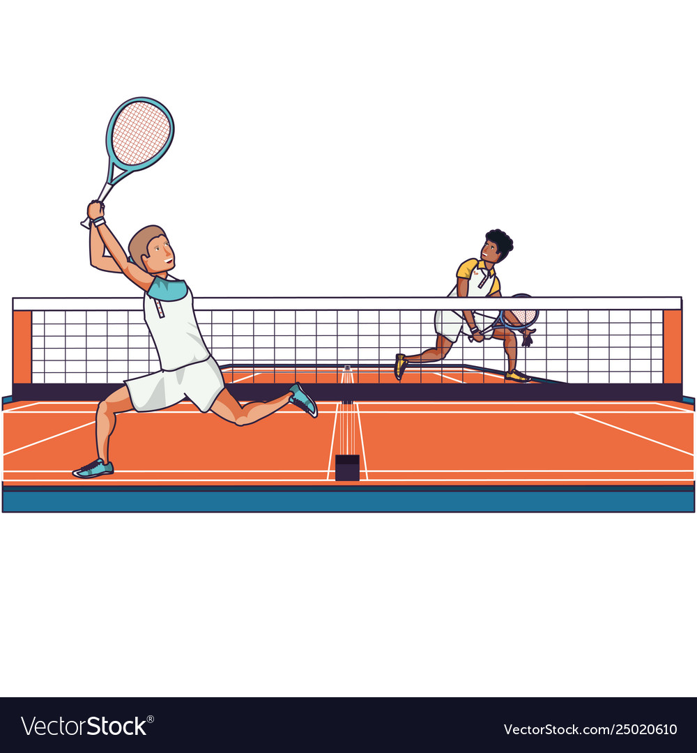 Men playing tennis in sport court Royalty Free Vector Image