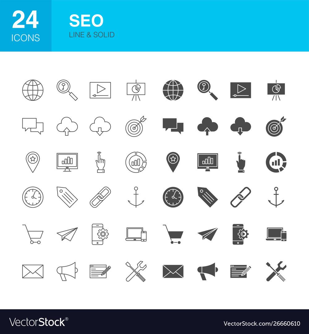 Seo line web glyph icons