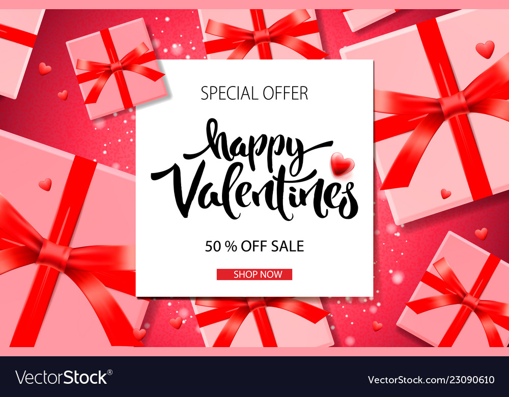 Valentines day sale background top view on