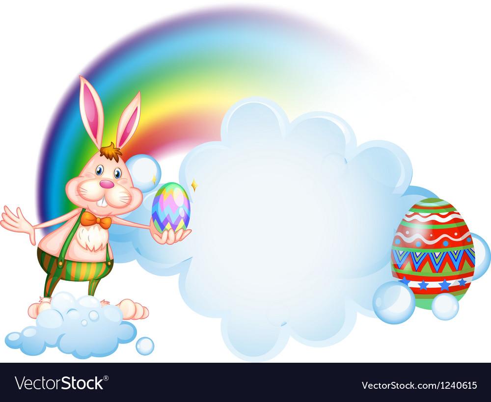 A bunny holding an egg near the rainbow vector image