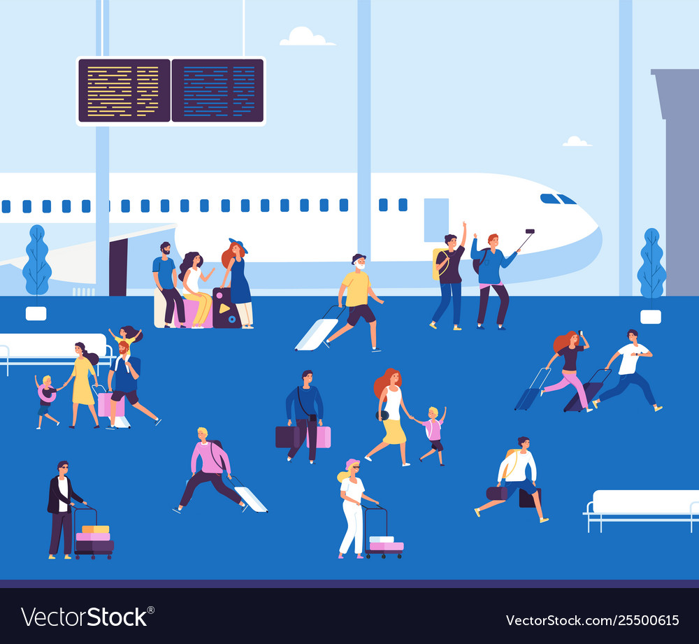 Airport terminal indoor couples tourists with