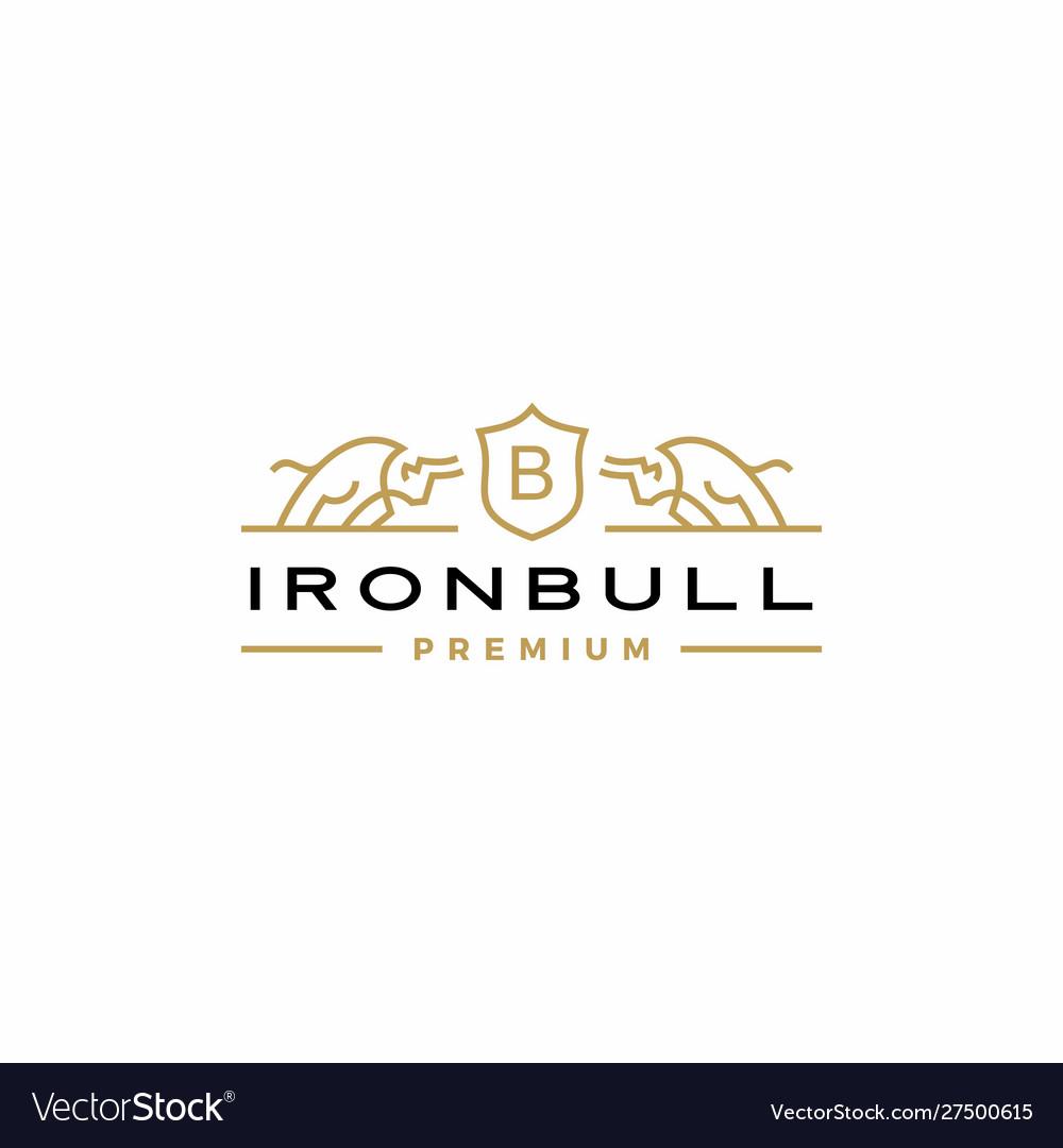 Bull coat arms logo icon