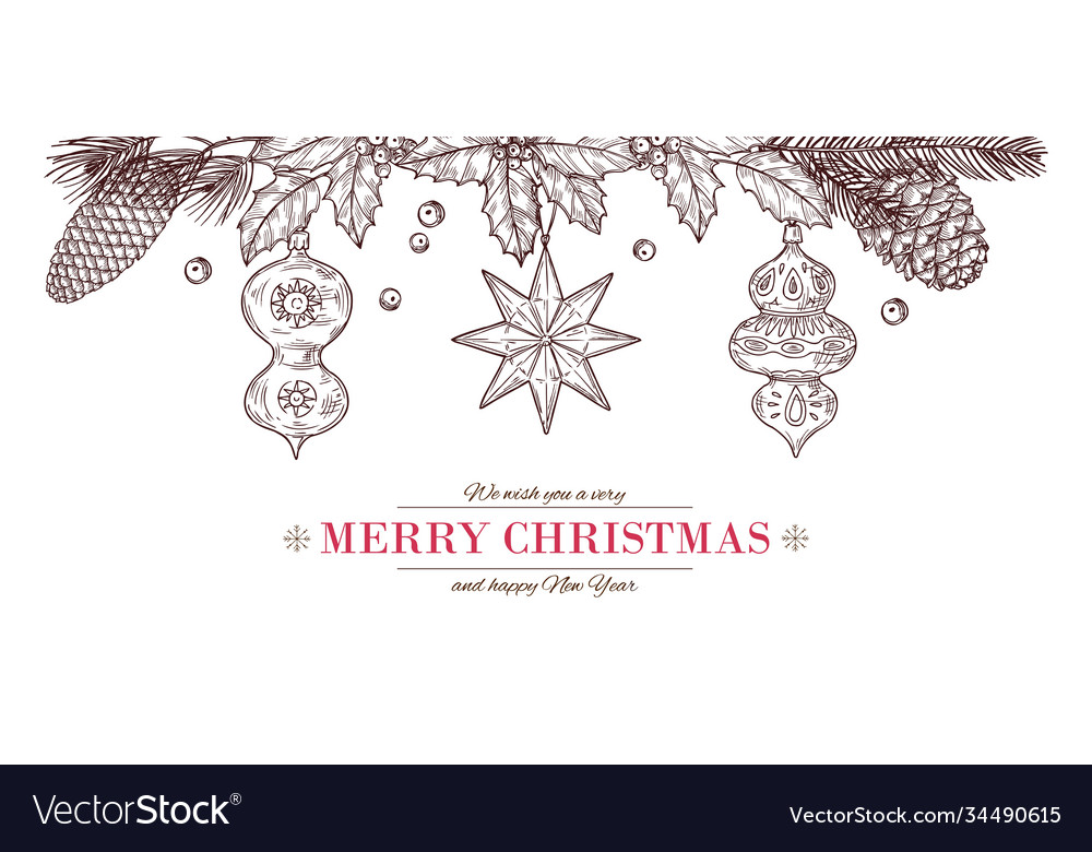 Christmas sketch banner drawing merry card