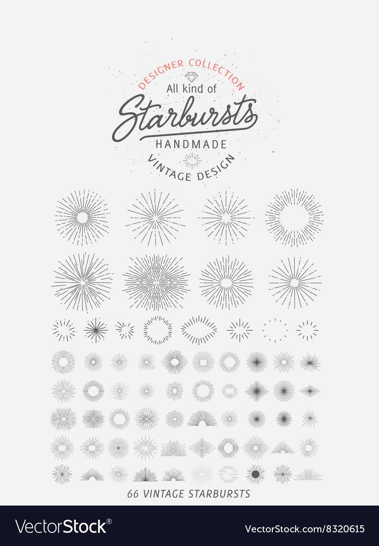 Collection of trendy hand drawn retro sunburst bu