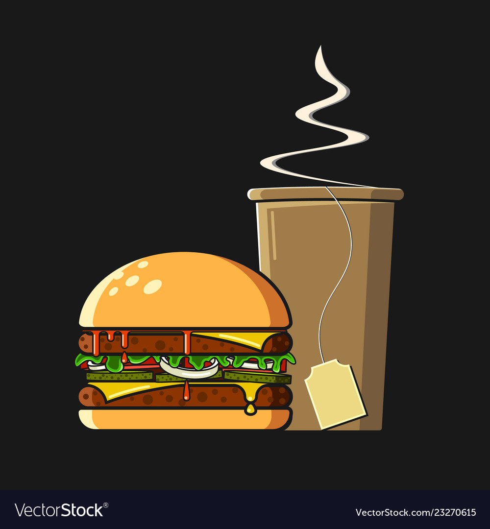 Fast food icon flat style colorful