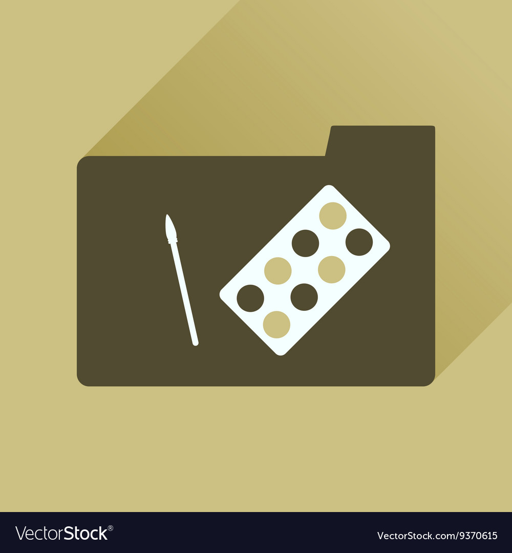 Flat icon with long shadow Brush Palette folder vector image