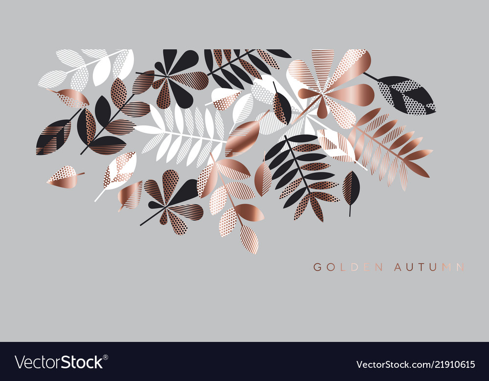 Gray And Rose Gold Leaves Composition For Header Vector Image Are you searching for tropical leaves png images or vector? vectorstock