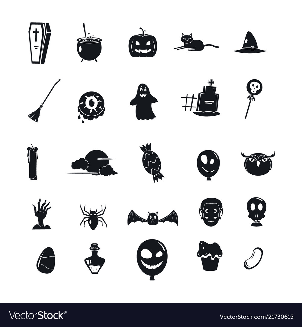 Halloween party icon set simple style