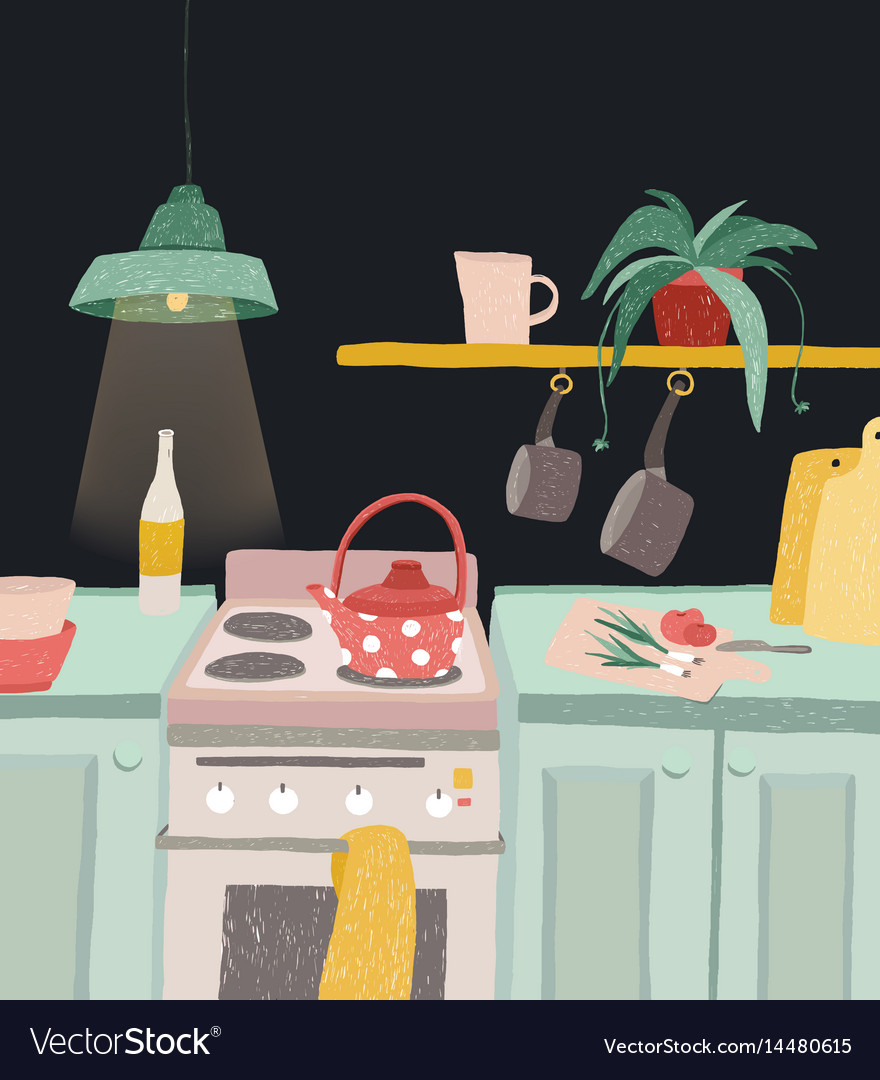 Hand drawn home cooking in cartoon style colorful