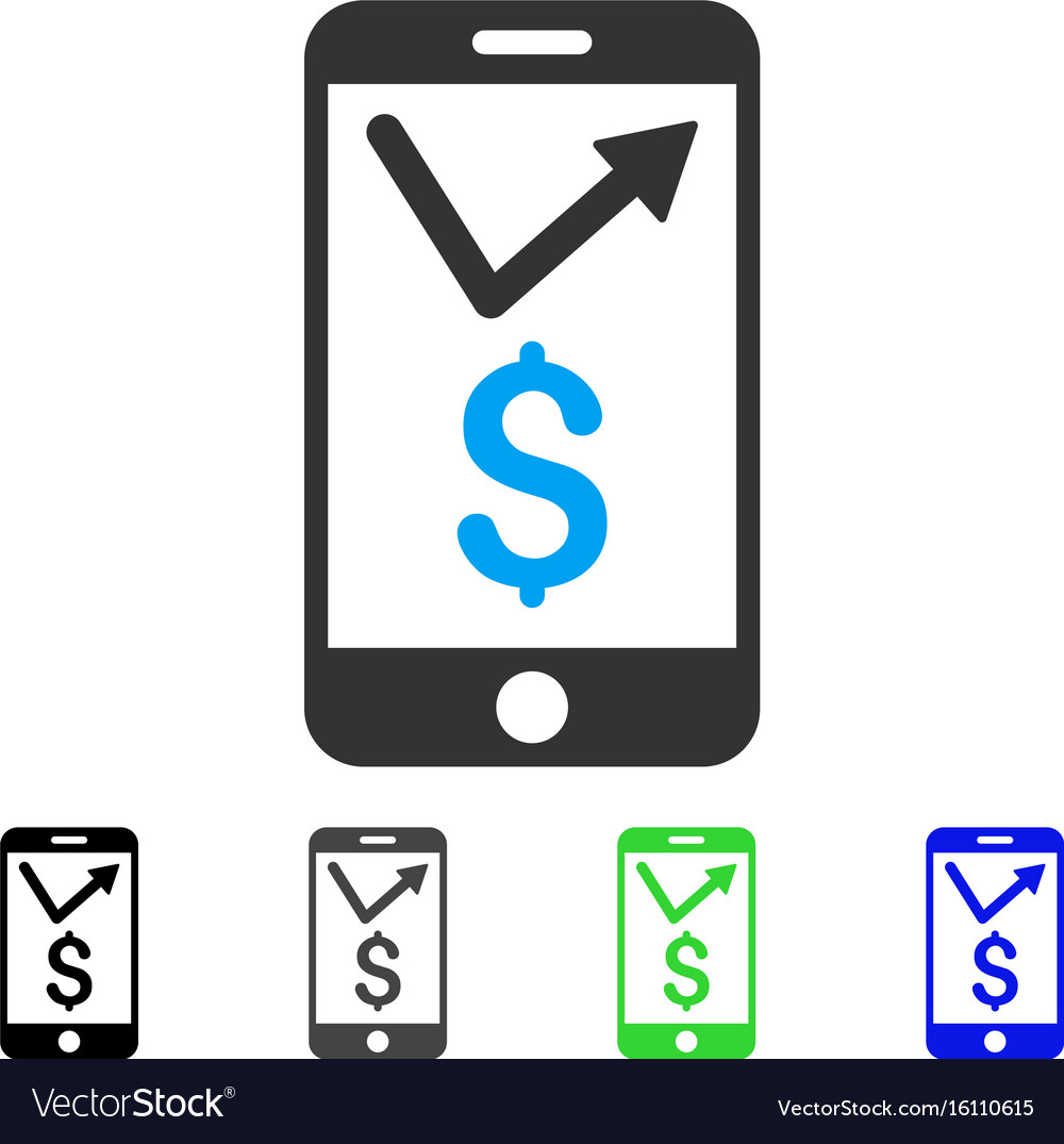 mobile sales report flat icon royalty free vector image