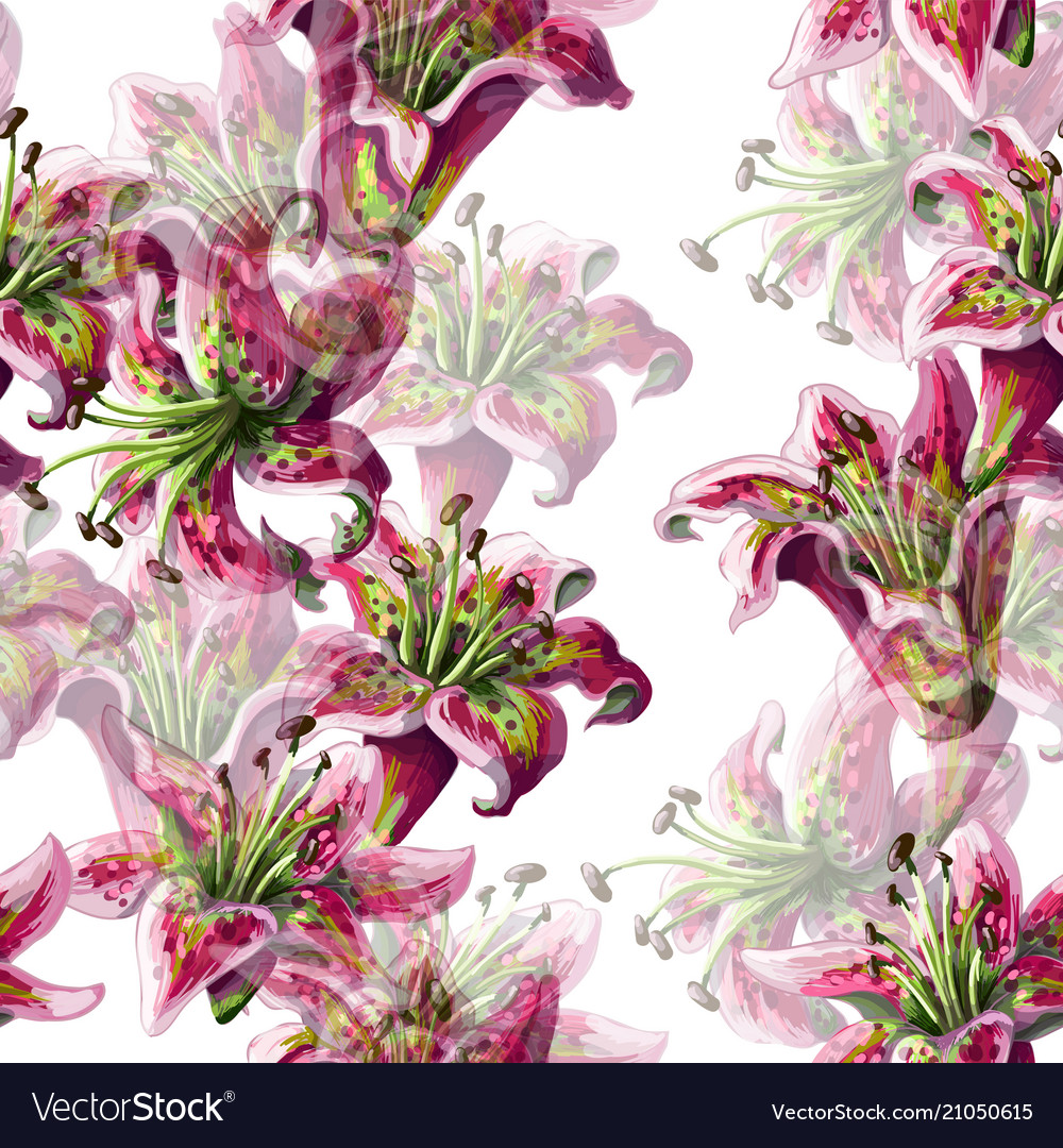 Seamless pattern with lilies flowers