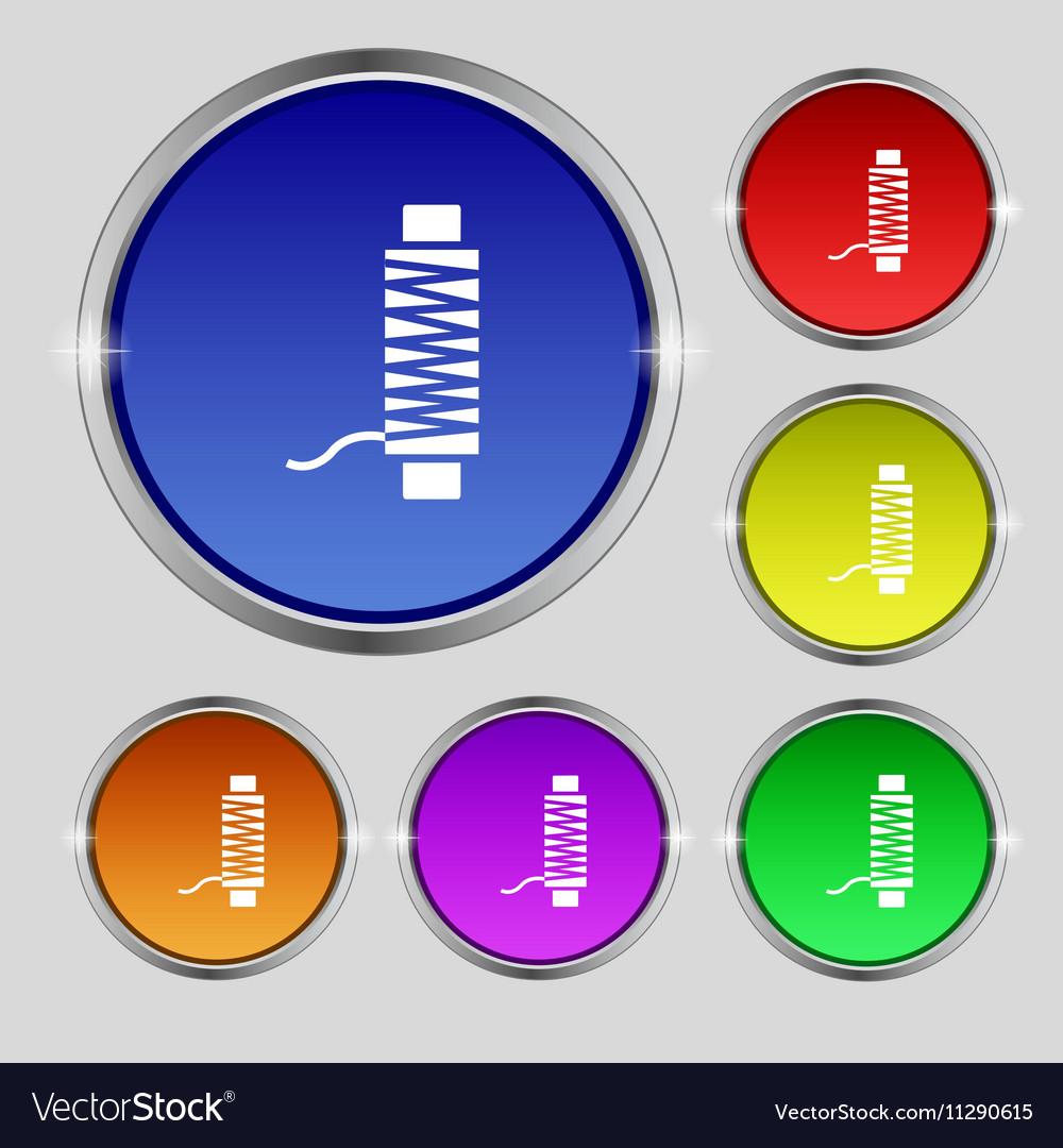 Thread Icon sign Round symbol on bright colourful