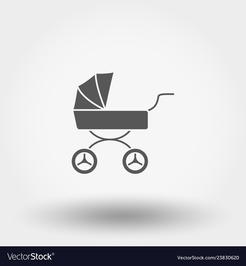 Baby carriage icon silhouette flat