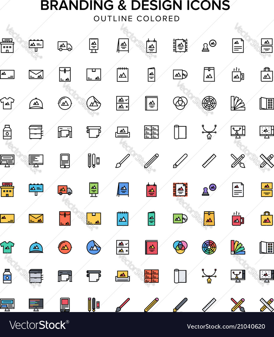 Branding and design outline colored icons