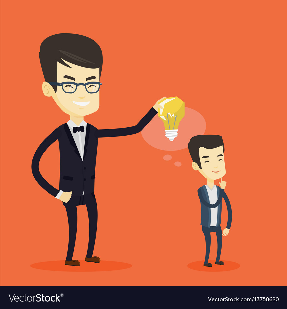 Business man giving idea bulb to his partner