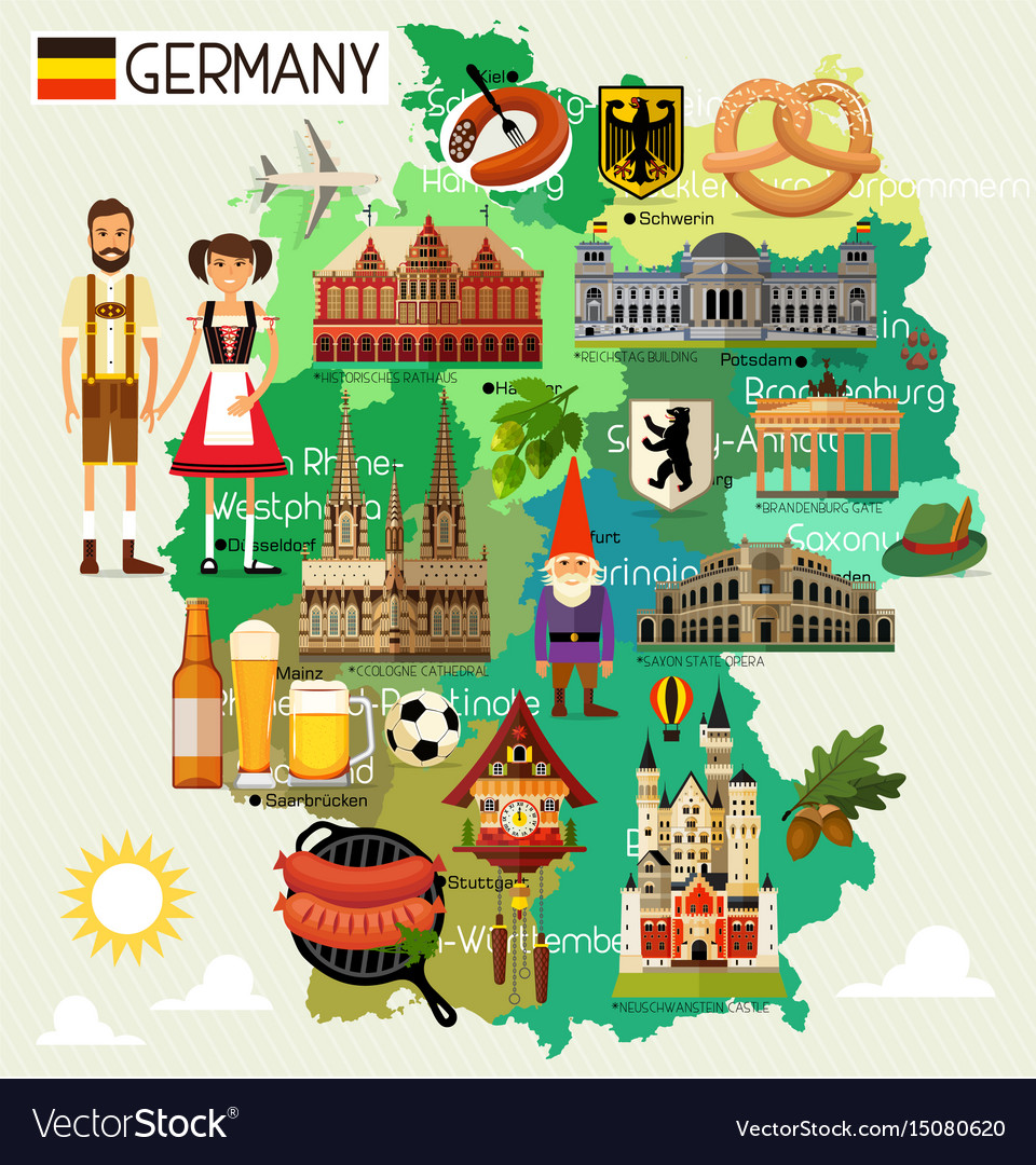 germany travel map royalty free vector image vectorstock