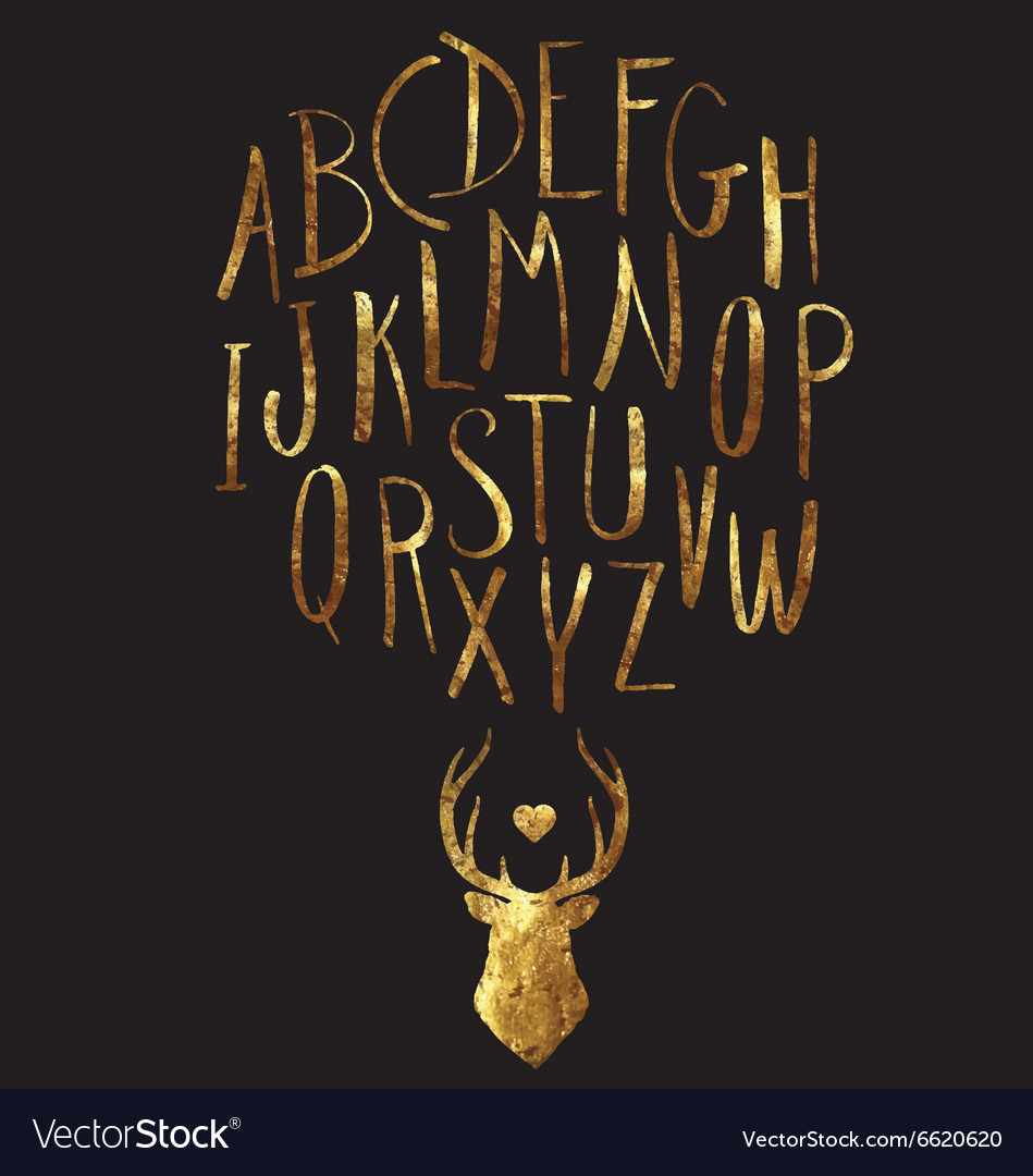 Hand Drawn Gold Foil Letters and Stag Set