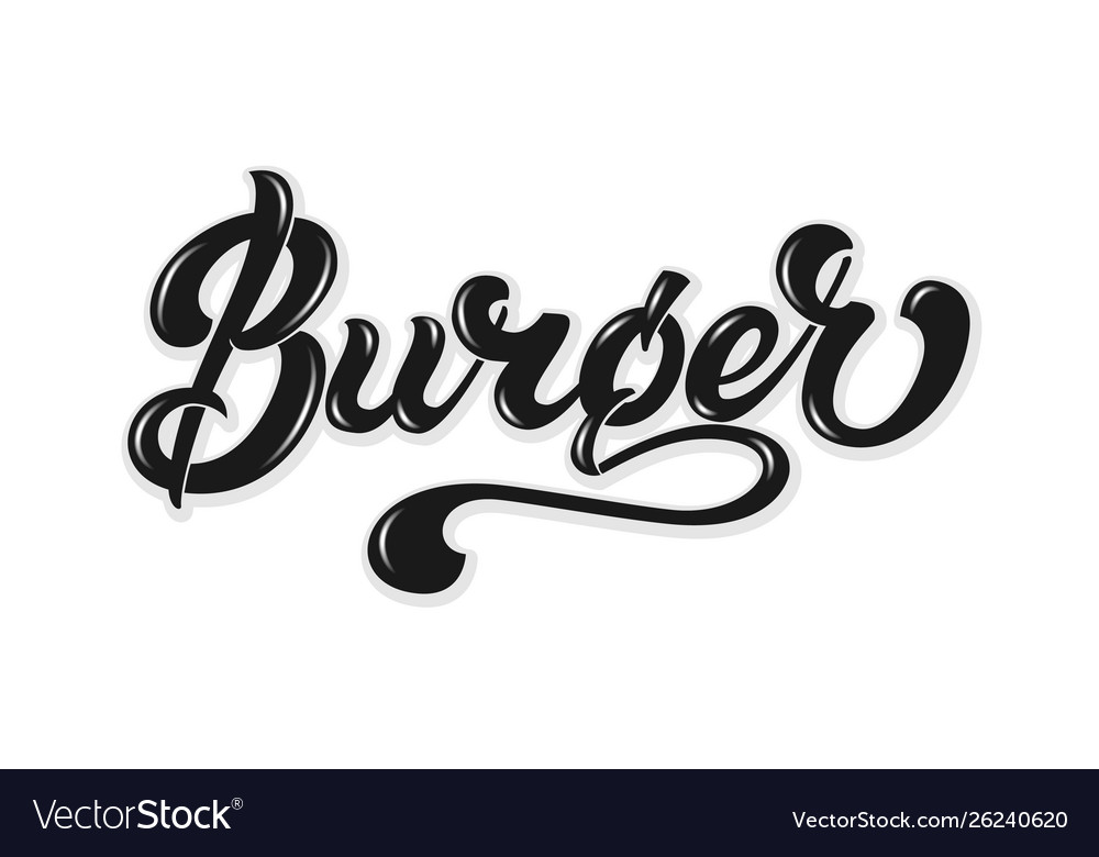 Hand drawn lettering burger with highlights