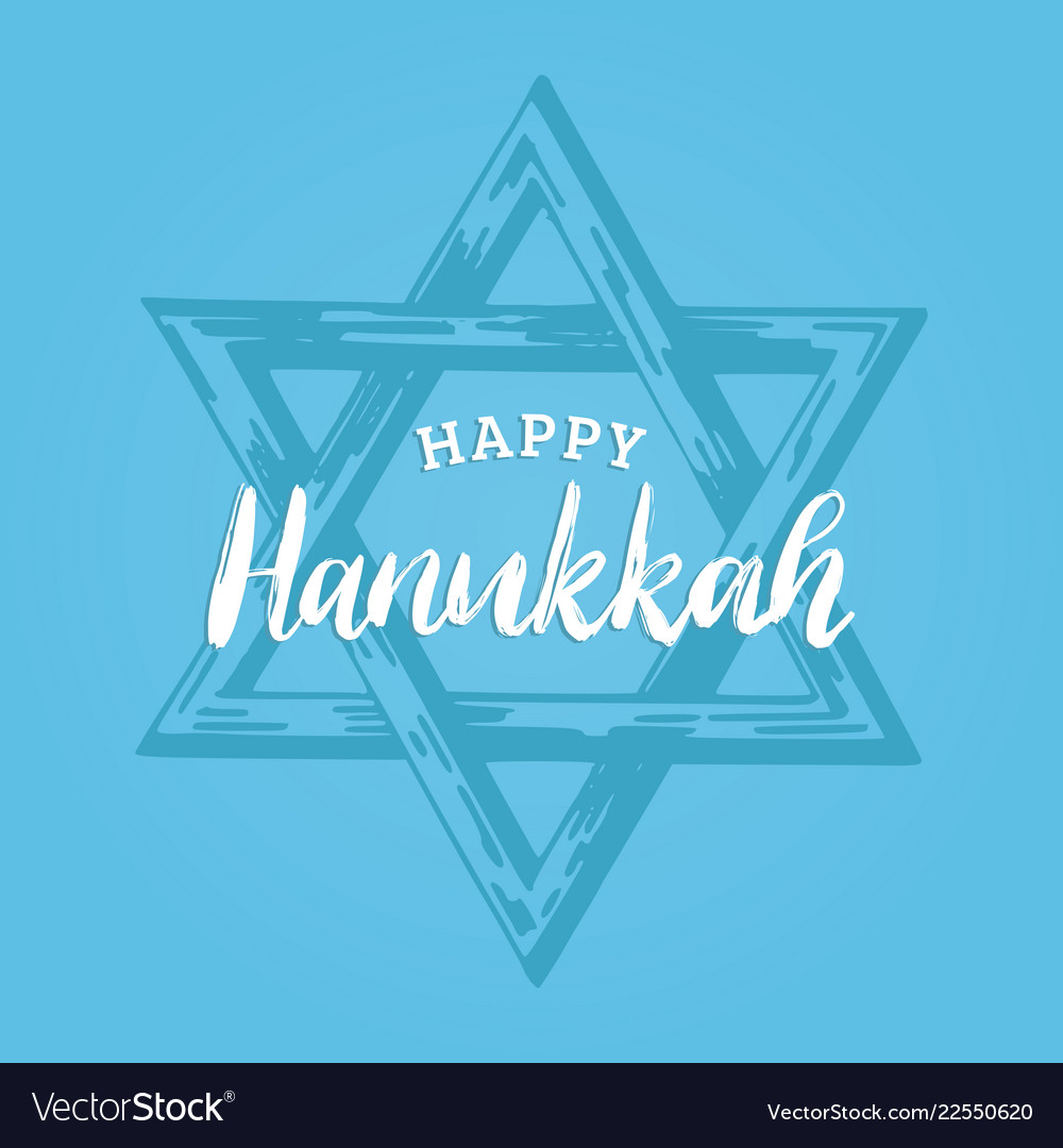 Happy hanukkah hand lettering star of david