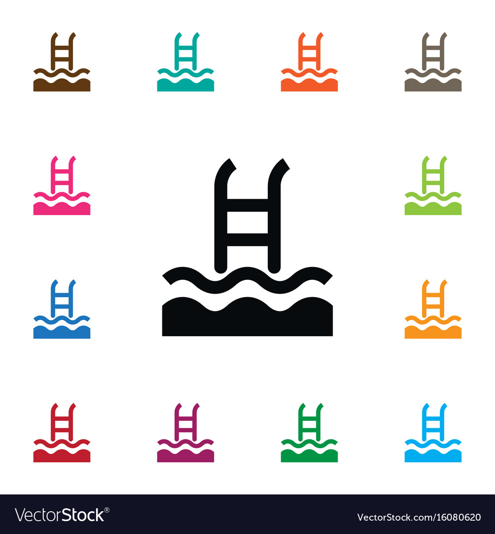 Isolated swimming pool icon basin element
