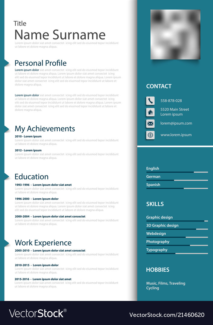 Professional personal resume cv in blue design Vector Image
