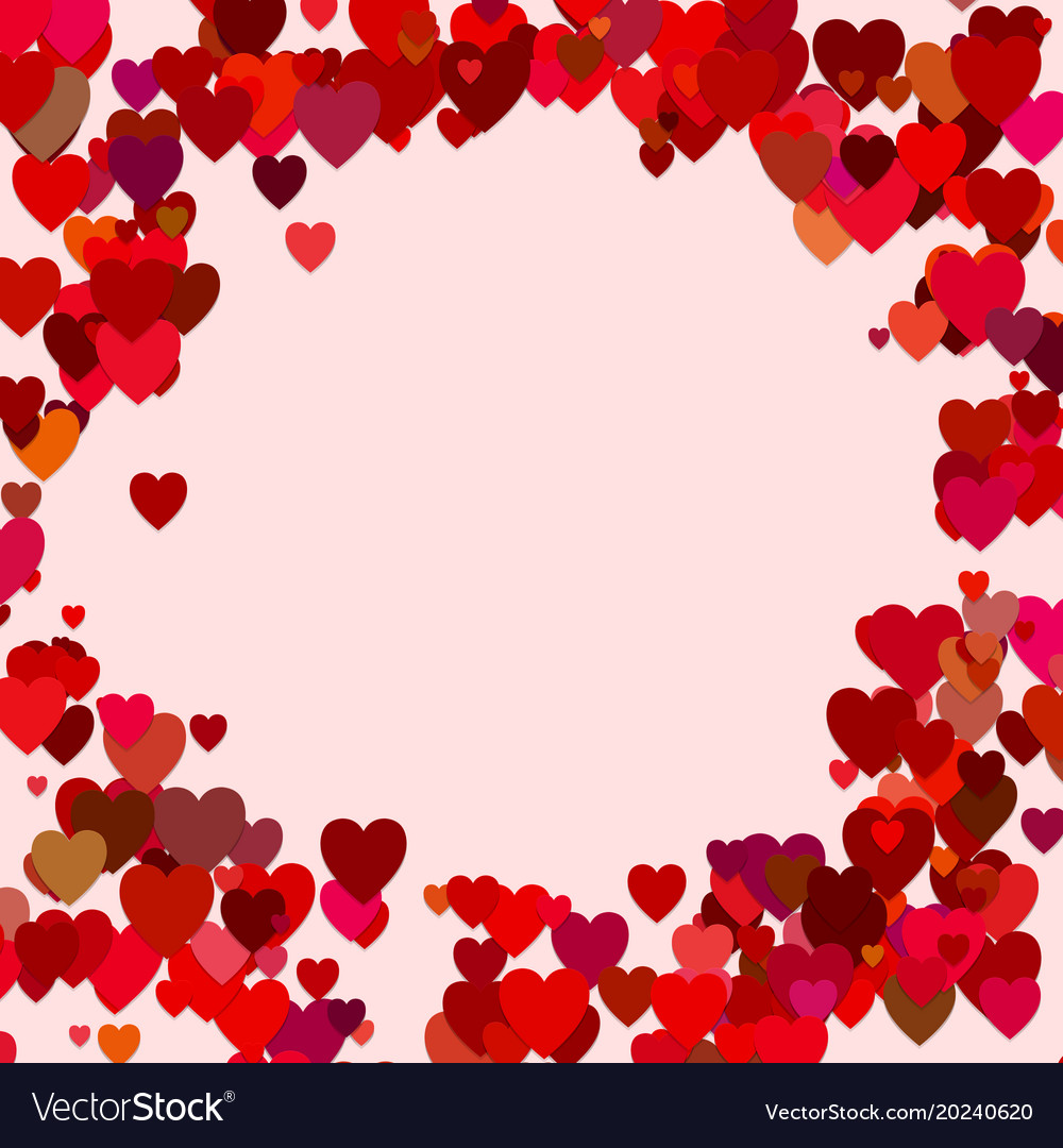 Red random heart background design - love graphic vector image