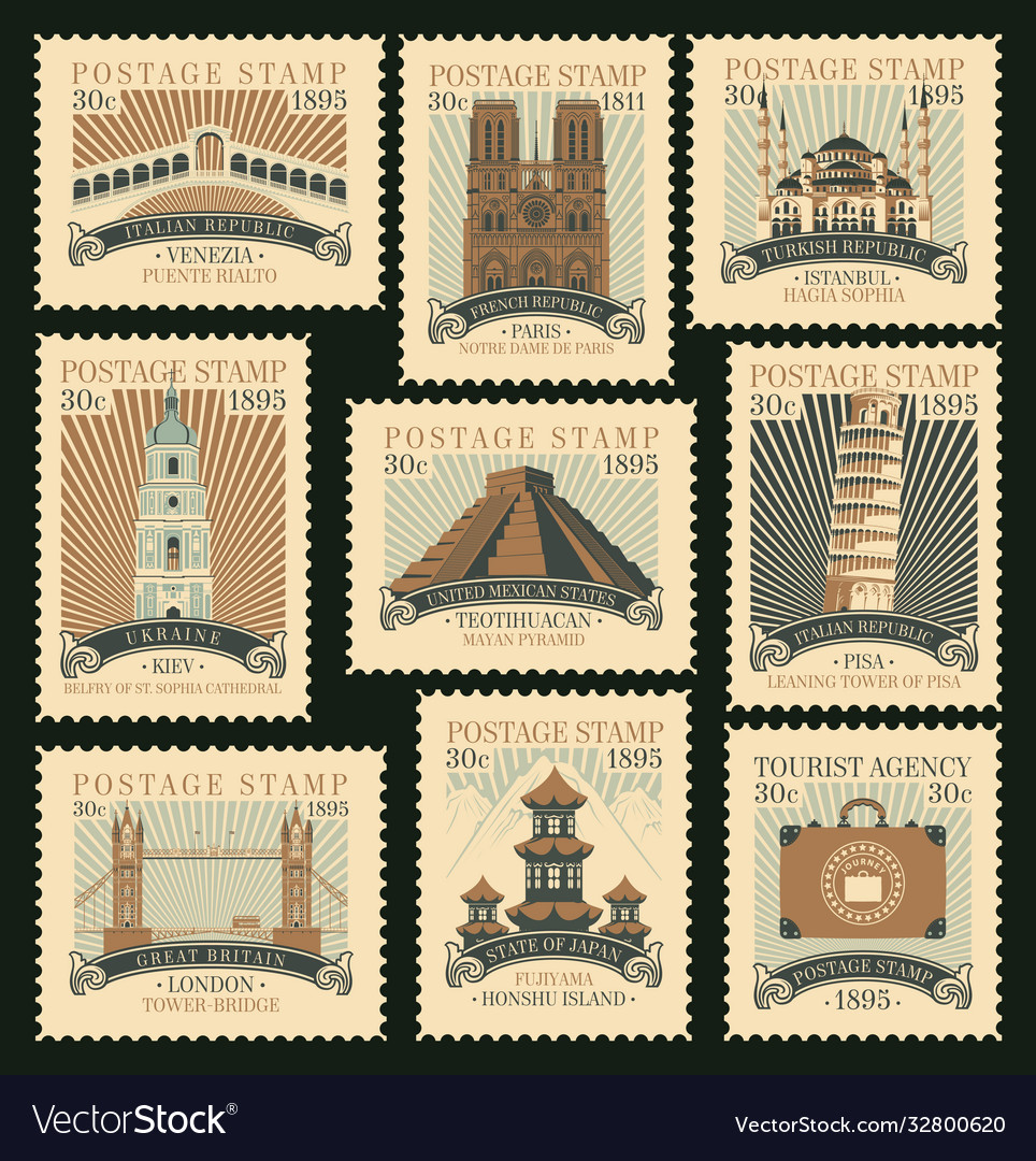 Set postage stamps on travel theme