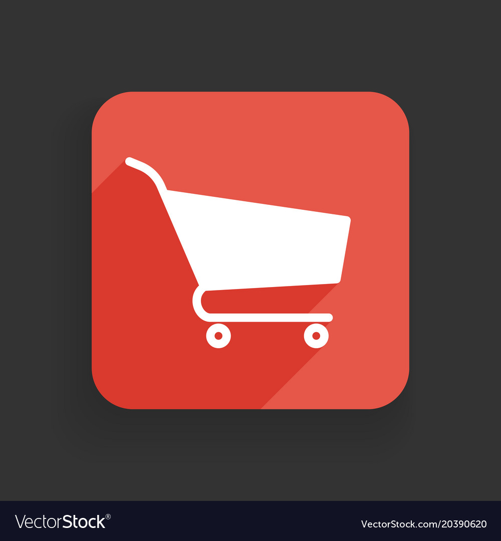 Shopping cart icon flat design with long shadows