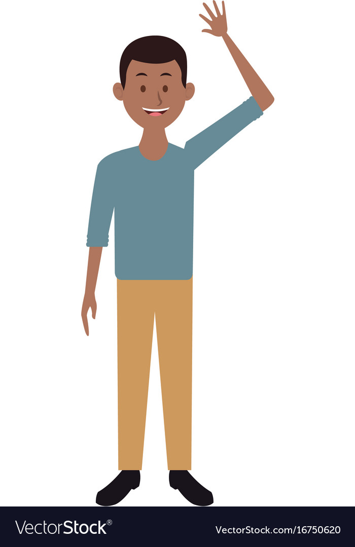 Smiling man in casual clothes waving hand standing