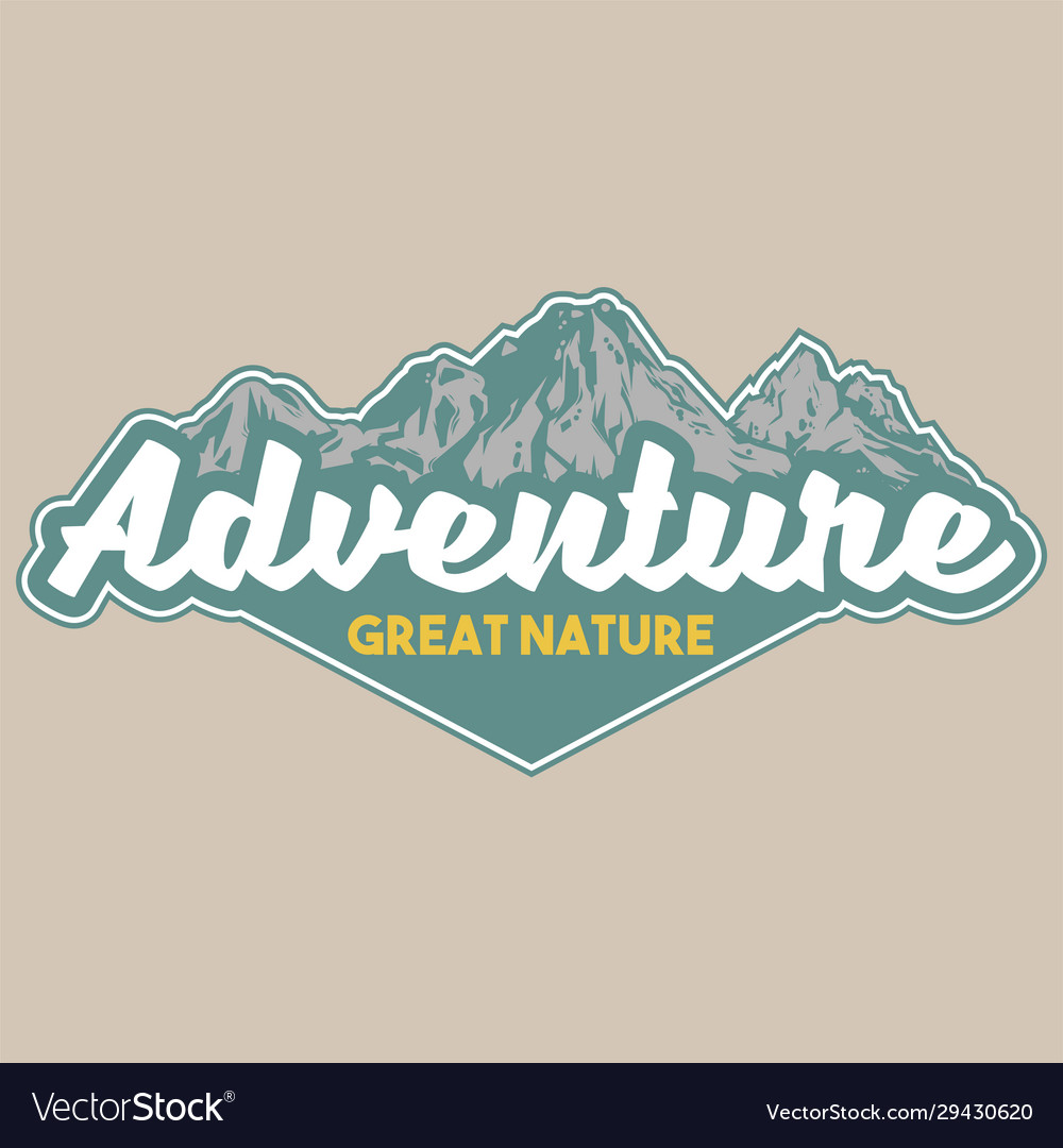 Vintage badge with great snow-capped mountains