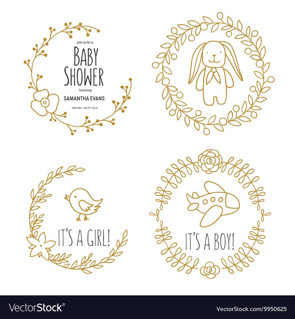 Baby shower invitation templates set Hand drawn