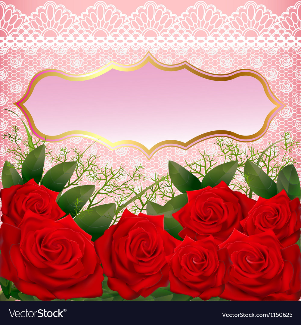 Background with red roses and lace