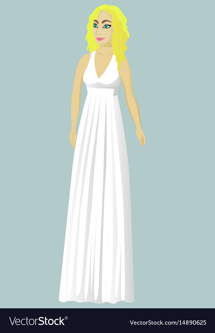 Bride in greek wedding dress Royalty Free Vector Image