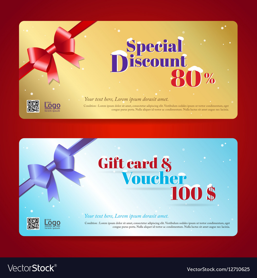 Elegant discount gift card and voucher template vector image yelopaper Images