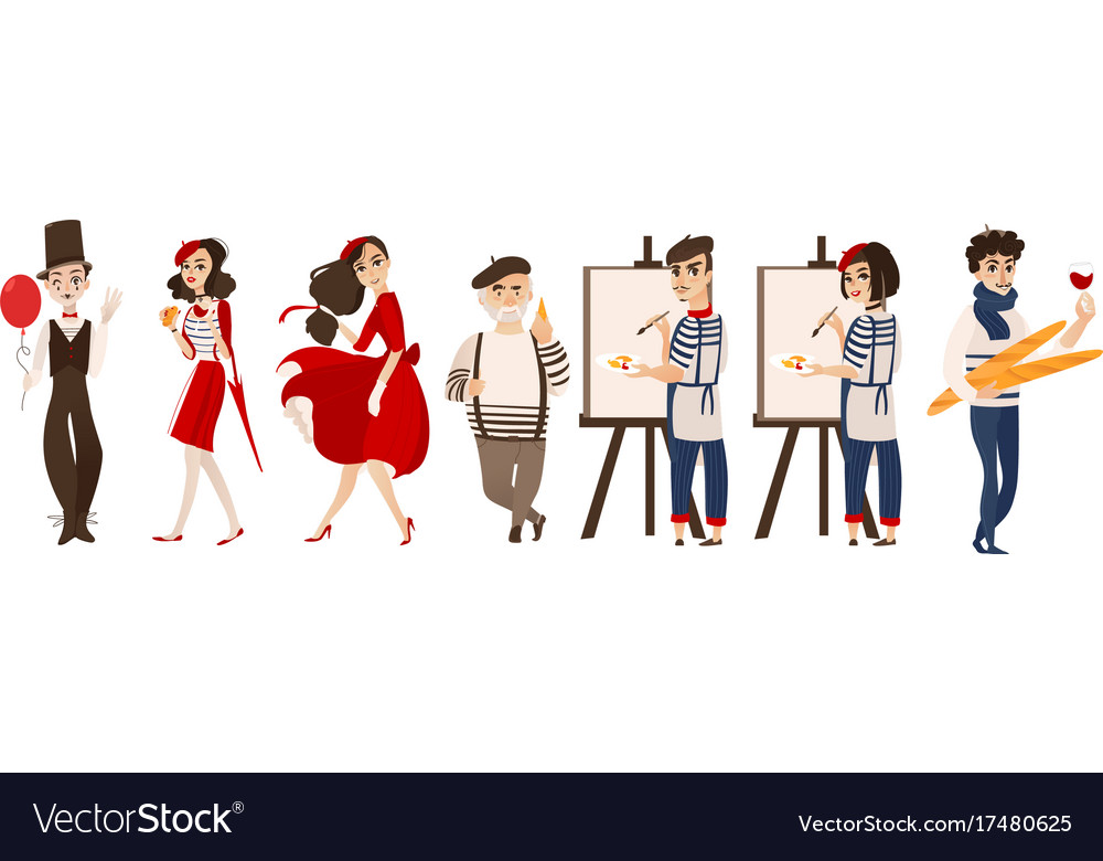 French People Mimes Artists Symbols Of France Vector Image