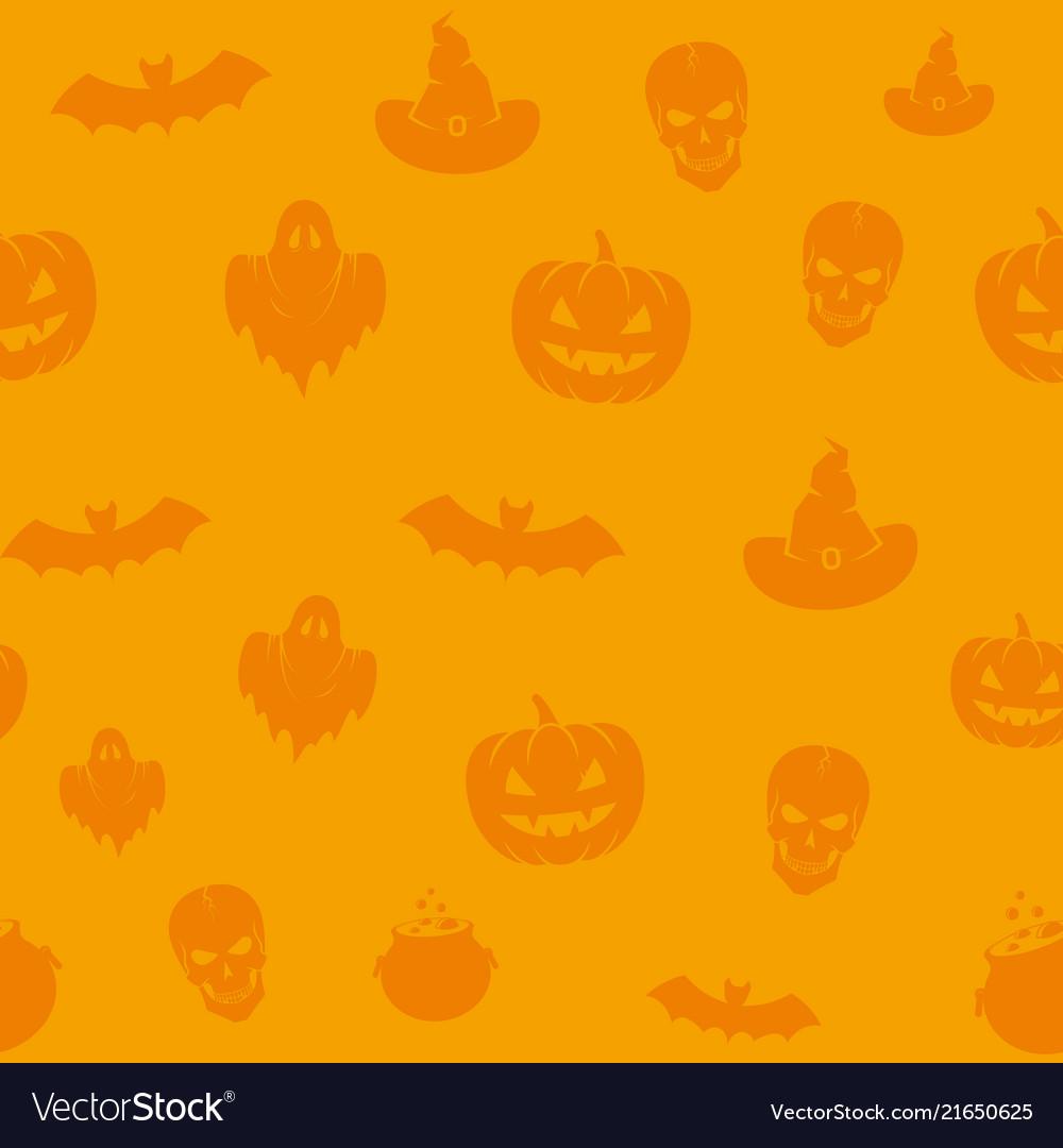 Fun halloween icons seamless background