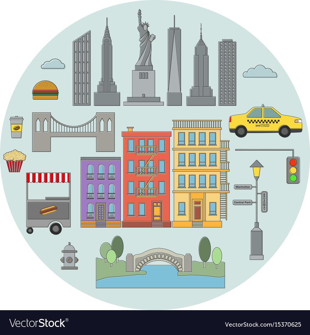 New york line icon circle concept