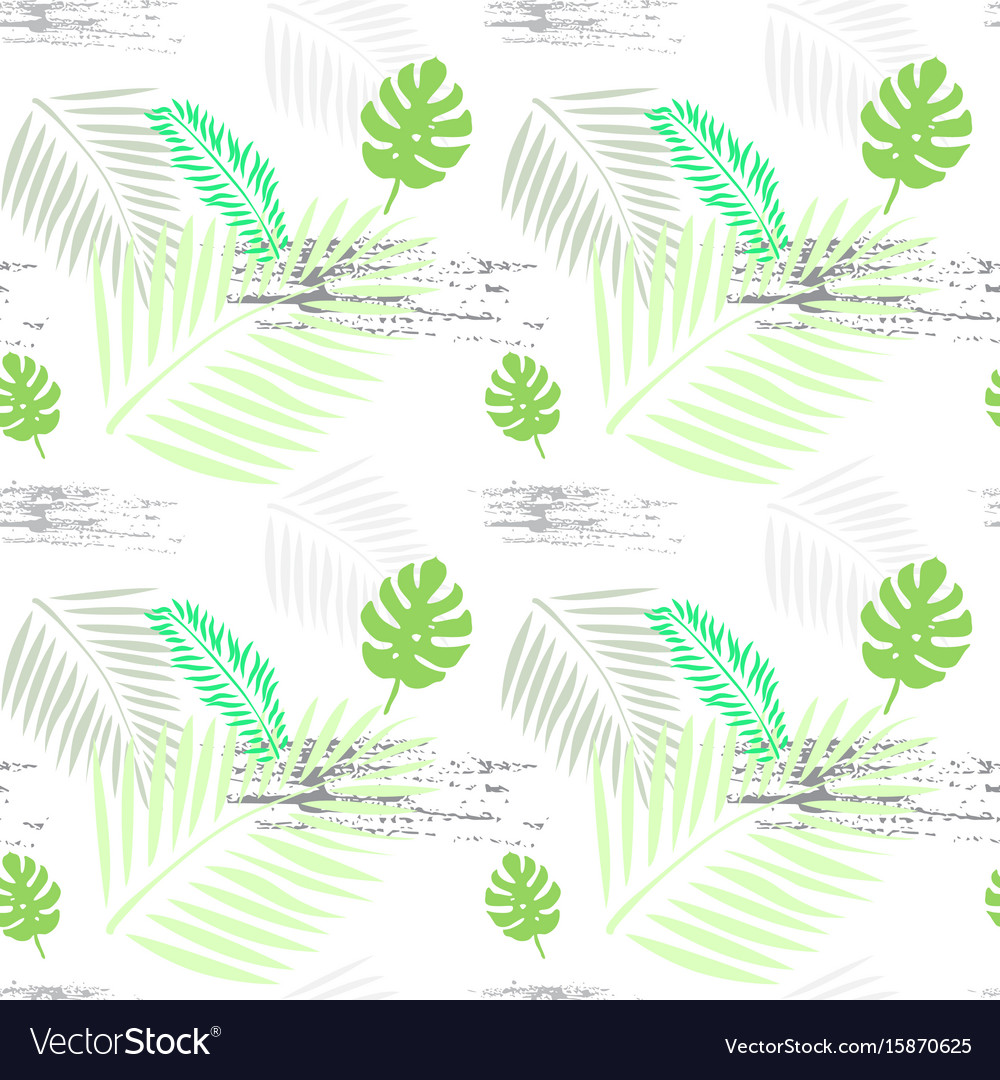 Palm tree leaves seamless pattern tropical
