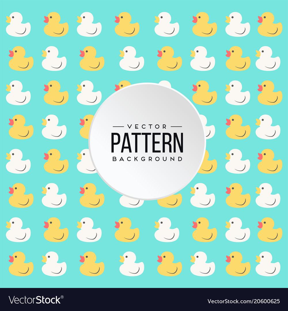 Pattern yellow white little duck blue background v