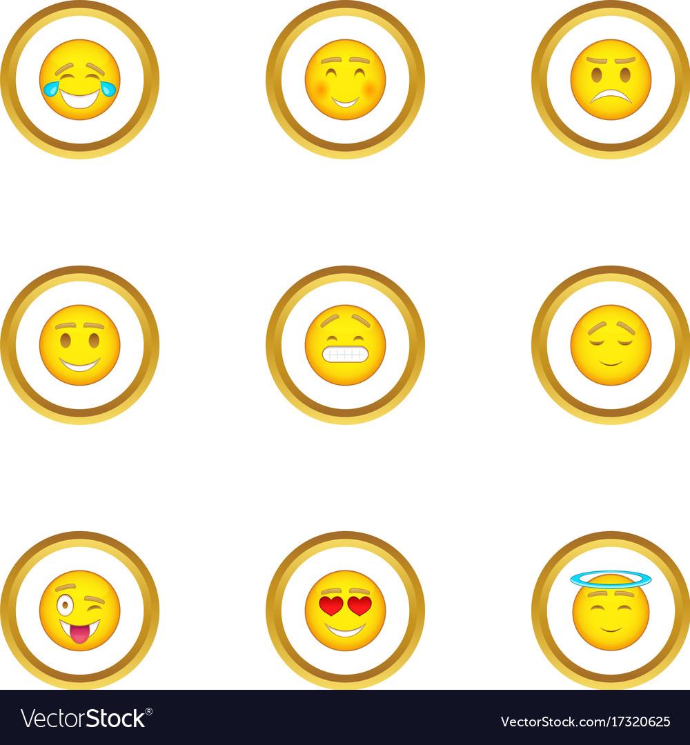 People emoticons icons set cartoon style