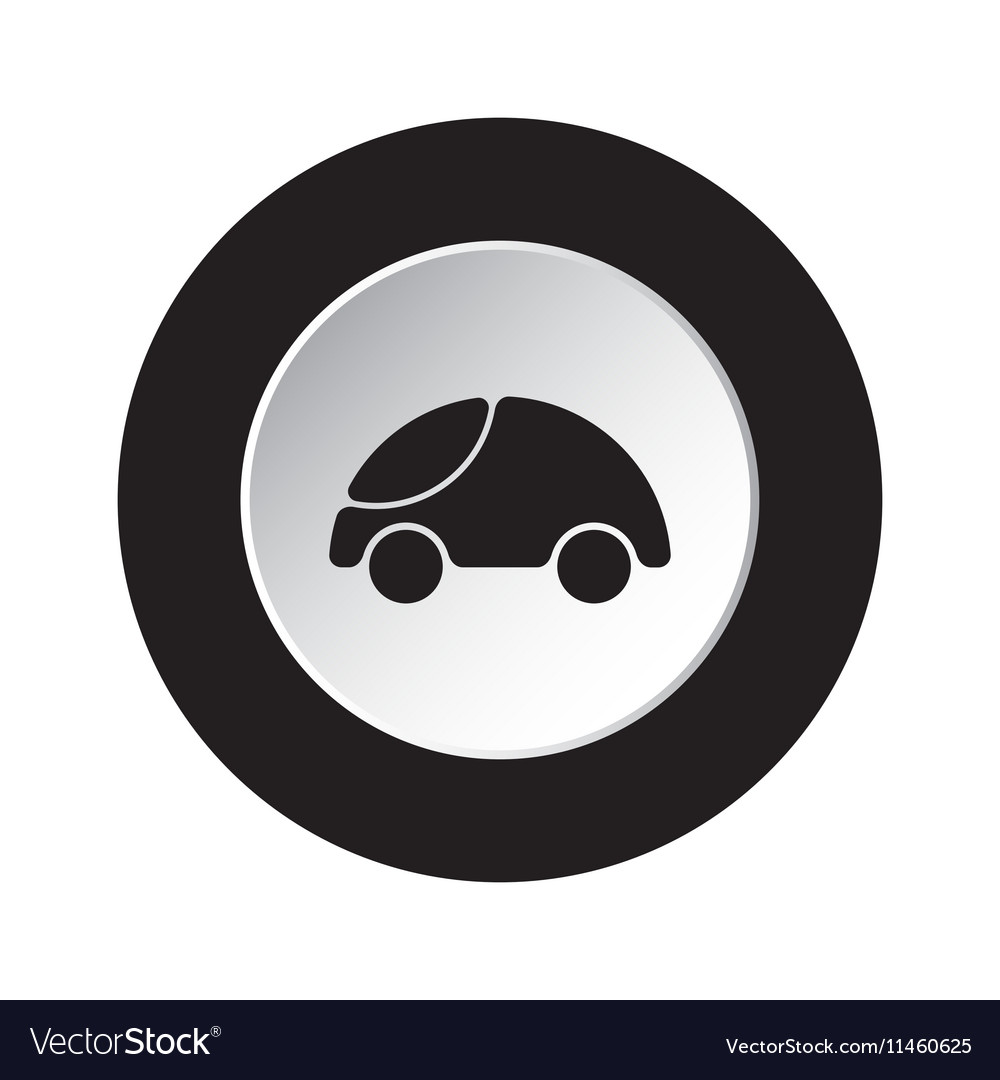 Round black white button - cute rounded car icon