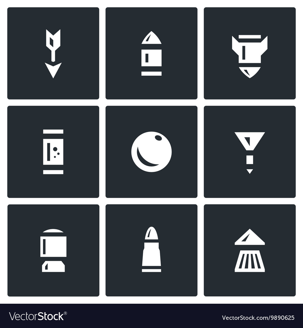 Set of Ammunition Icons Arrow Bullet