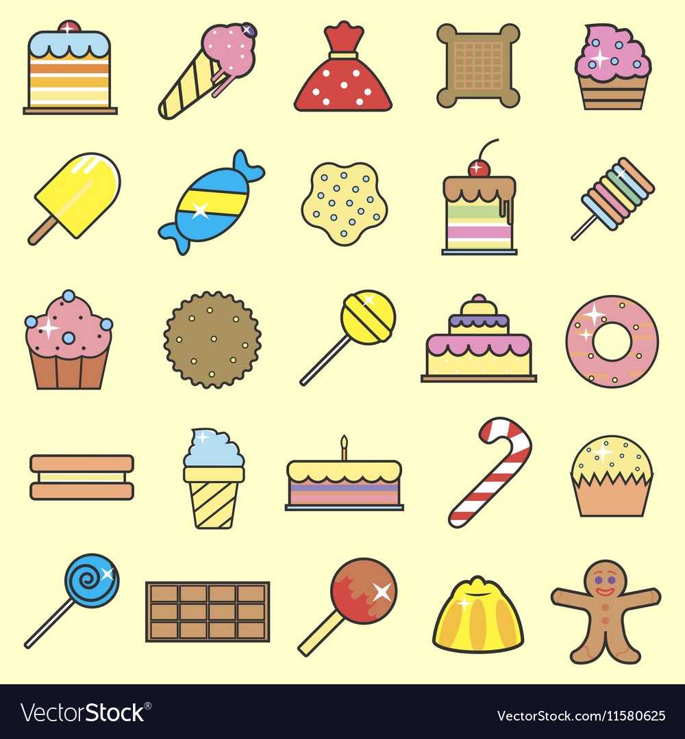 Set of sweet food icons set Tasty collection of