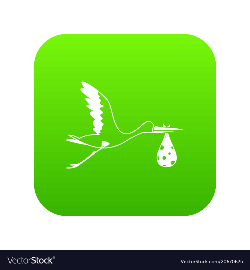Stork carrying icon digital green vector image