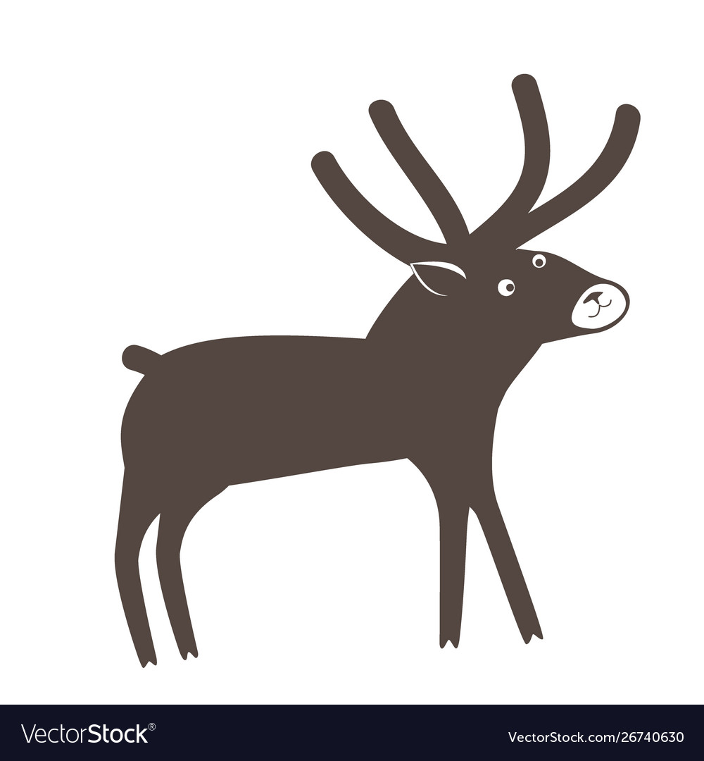 A cute surprised deer on white background