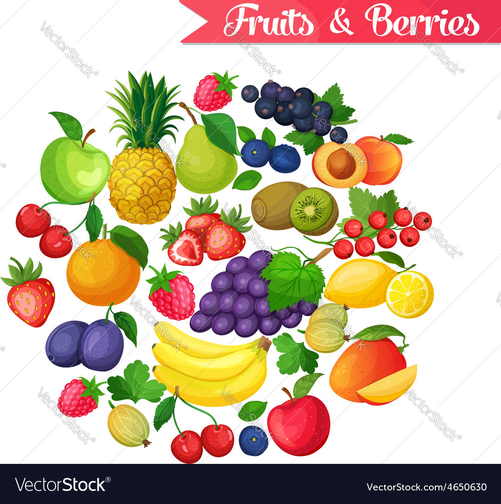 Background with fruits and berries