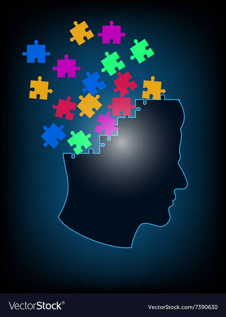 Concept of puzzle brain vector image