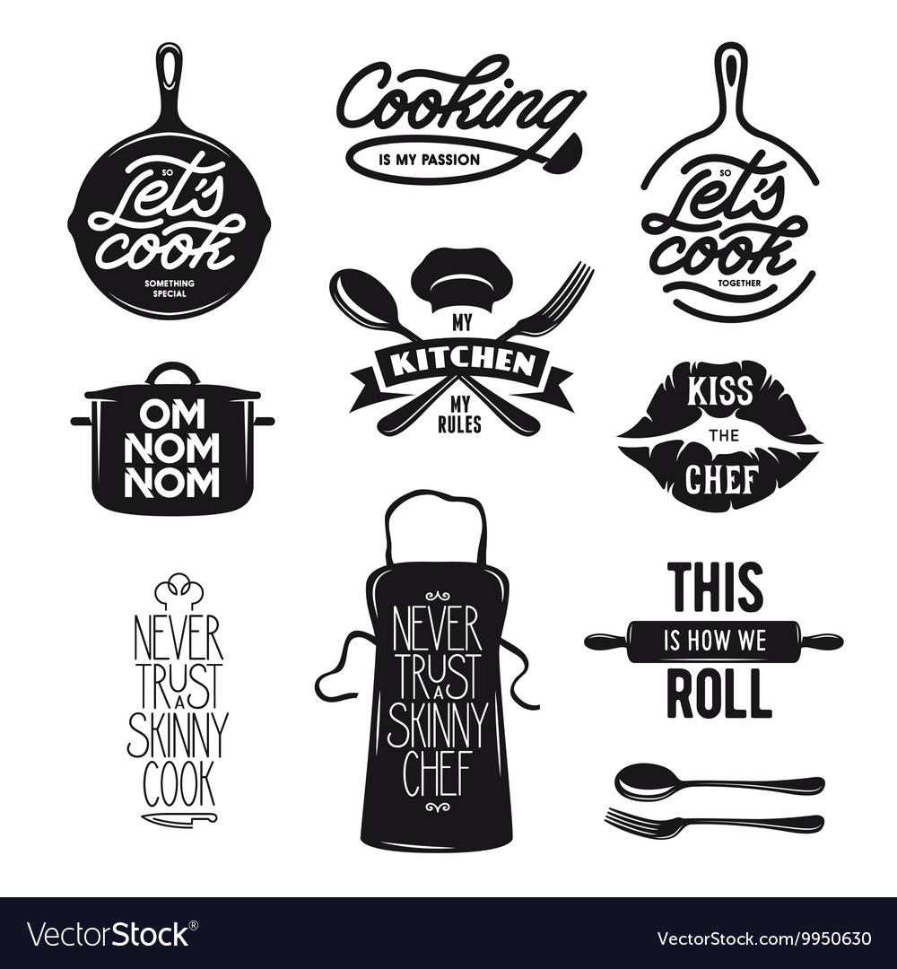 Cooking related typography set Quotes about
